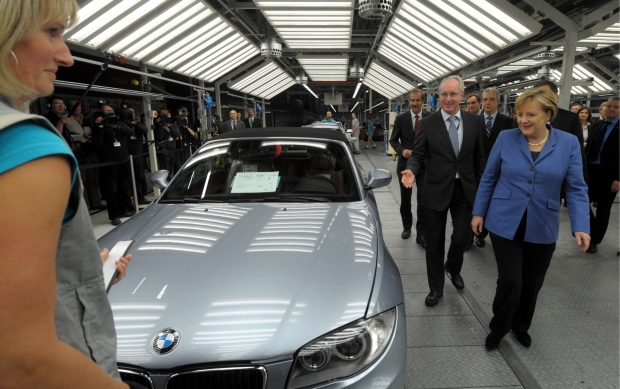 Angela Merkel visits BMW plant in Leipzig