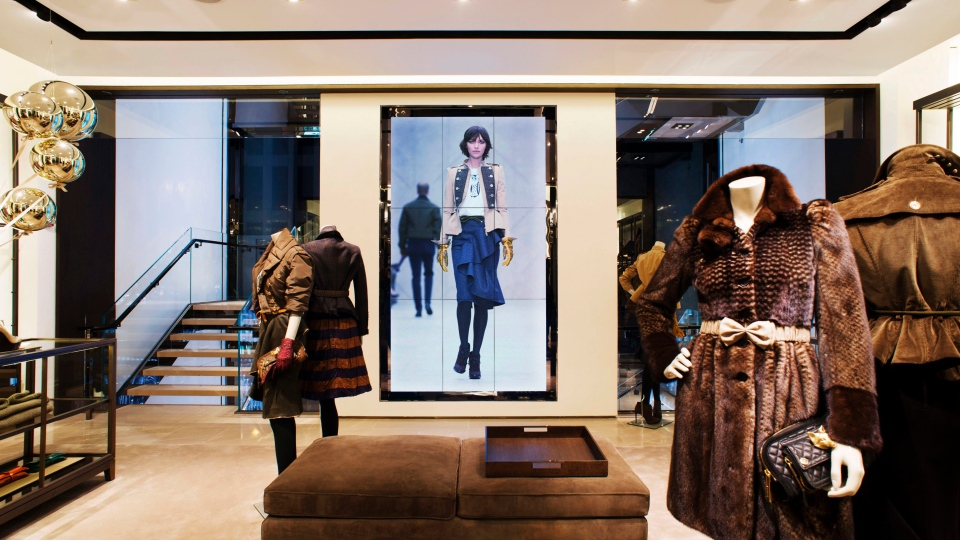 This undated publicity photo provided by BURBERRY shows an interior view of the BURBERRY PRORSUM section of the new BURBERRY Flagship store opened in November 2012 on Michigan Avenue in Chicago. (AP / BURBERRY)