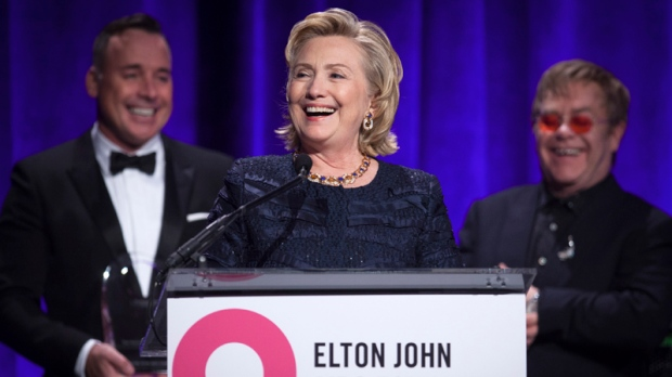 Hillary Clinton honoured by Elton John Foundation
