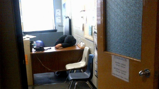 Coun. Giorgio Mammoliti's office released this photo of a person who appears to be sleeping at a desk at the Carmine Stefano Community Centre on Oct. 16. 2013.