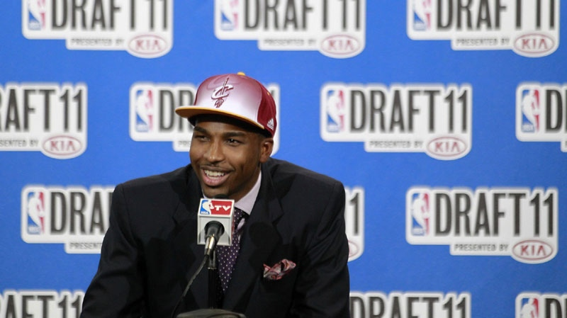 Texas' Tristan Thompson talks to reporters after being taken with the No. 4 pick by the Cleveland Cavaliers in the NBA basketball draft, Thursday, June 23, 2011, in Newark, N.J. (AP Photo/Julio Cortez)