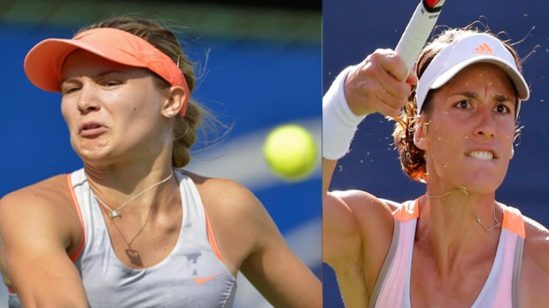Eugenie Bouchard, left, cited fatigue as a cause f