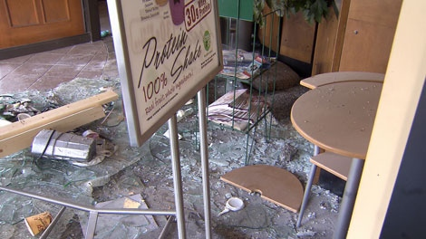 This Blenz location was caught in the crossfire of the Stanley Park riot, suffering thousands of dollars in damage. June 16, 2011. (CTV)