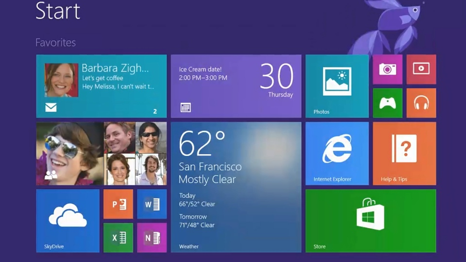 Windows 8.1 features a touch-enabled tile interface but also the old desktop mode.
