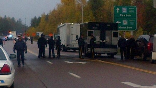 A strong police presence at a shale gas protest in Rexton, New Brunswick, October 17, 2013
