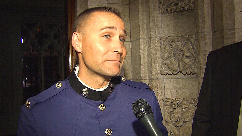 """I was very flattered"": Cst. Matt Williamson speaks to CTV News after the Throne Speech was delivered in Ottawa Wednesday, October 16."