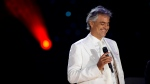 Andrea Bocelli performs a free outdoor concert on Central Park's Great Lawn, in New York, on Thursday, Sept. 16, 2011. (AP Photo/Charles Sykes)