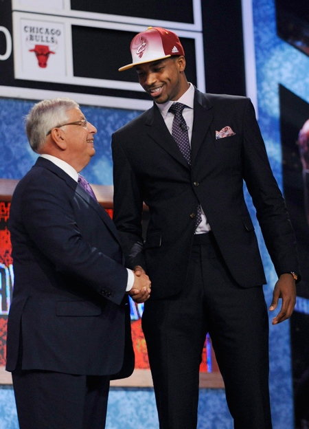 NBA Commissioner David Stern poses with the No. 4 overall pick Tristan Thompson who was selected by the Cleveland Cavaliers in the NBA basketball draft Thursday, June, 23, 2011, in Newark, N.J. (AP / Bill Kostroun)