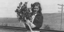 Frances Miller is shown in this handout photo as a nine-year-old in 1939 with the bouquet she was supposed to present to the King and Queen when they stopped in Medicne Hat, Alta.