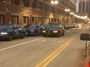 In this file photo, Detroit police cruisers are shown in Detroit, on Thursday, Oct. 17, 2013. (Tom Fitz-Gerald)