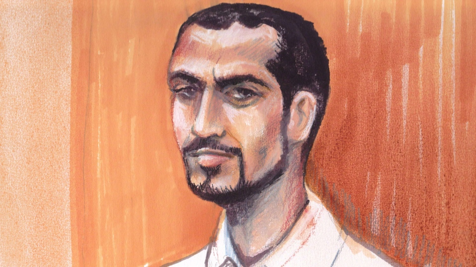 Omar Khadr appears in an Edmonton courtroom in this artist's sketch, Monday, Sept.23, 2013. (Amanda McRoberts / THE CANADIAN PRESS)
