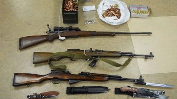 RCMP display weapons seized at Thursday's shale gas protest in Rexton, N.B.