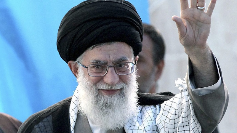 In this photo released by the Iranian supreme leader's office, Iranian supreme leader Ayatollah Ali Khamenei, arrives at the ceremony of the 22nd anniversary of the death of Ayatollah Khomeini, in his mausoleum just outside Tehran, Iran, Saturday, June 4, 2011. (AP Photo/Office of the Supreme Leader)