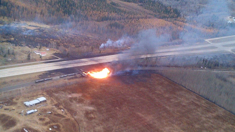RCMP Air 1 helicopter captures an explosion after a train derailed in Gainford, Alta. on Saturday, Oct. 19, 2013. (Parkland County / Facebook)