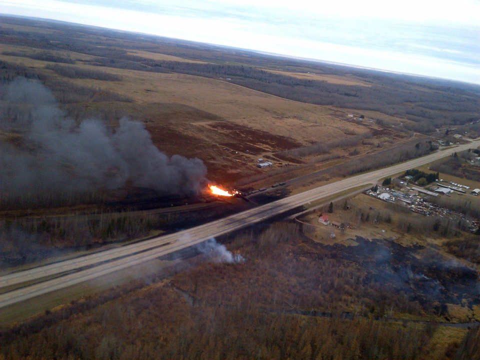 Emergency crews were battling a massive fire after a CN tanker train carrying oil and gas derailed in Gainford, Alta., Saturday, Oct. 19, 2013. (RCMP)