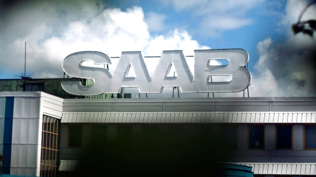 The Saab emblem stands above the Saab factory in Trollhattan, Sweden, Thursday, June 23, 2011. (AP / Bjorn Larsson Rosvall)