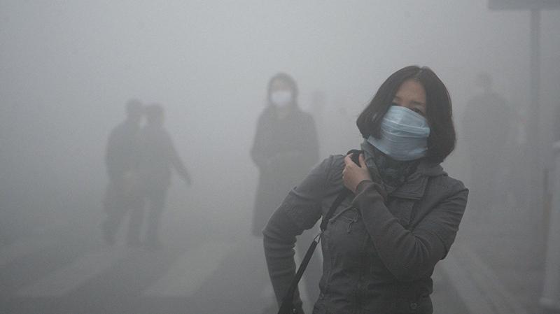Dense smog in Harbin, northern China