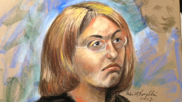 Sonia Blanchette appears in court during her preliminary hearing, as seen in this sketch by courtroom artist Mike McLaughlin (Oct. 21, 2013)