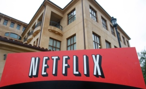 This Jan. 29, 2010, file photo, shows the company logo and view of Netflix headquarters in Los Gatos, Calif. (Marcio Jose Sanchez/AP)