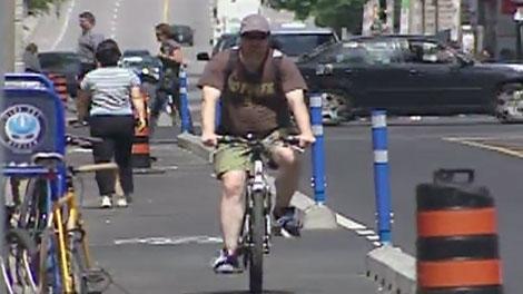 Ottawa's segregated bike lane will open on Laurier Avenue between Bronson and Elgin Street on July 10, 2011.