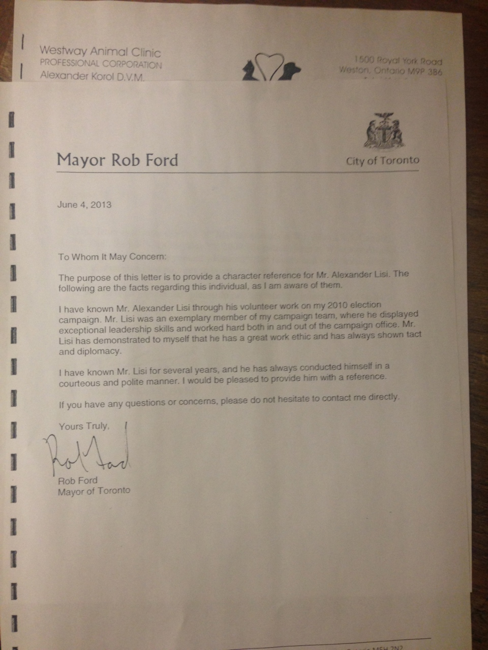 ford penned letters in support of convicted murderer and a