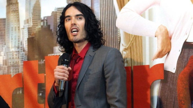 English comedian and actor Russell Brand speaks at the Australian premier of his new film 'Authur' in Sydney, Australia, Friday, April 15, 2011. (AP / Rob Griffith)