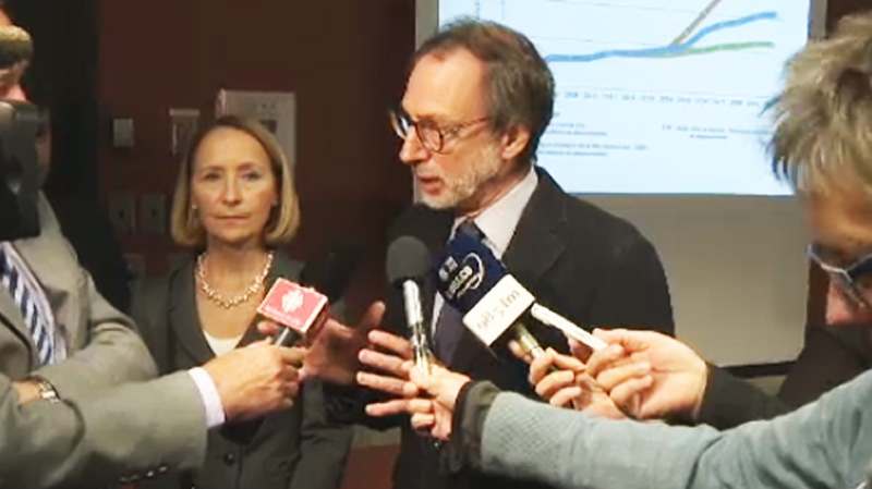 Montreal public transport chief Michel Labrecque explained some of the changes planned at a Thursday news conference in Montreal. (CTV Montreal Oct. 24, 2013)