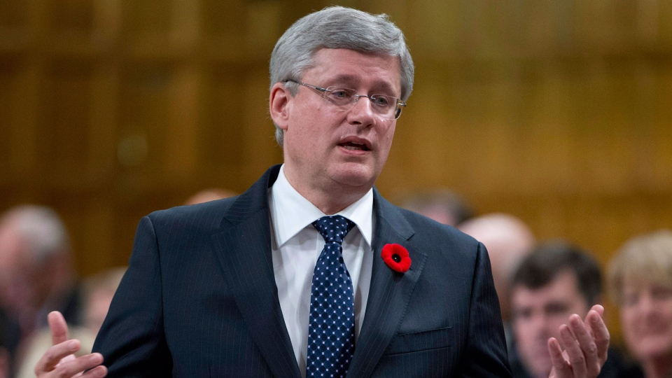 Prime Minister Stephen Harper responds to a question during question period in the House of Commons Thursday, Oct. 24, 2013 in Ottawa. (Adrian Wyld / THE CANADIAN PRESS)
