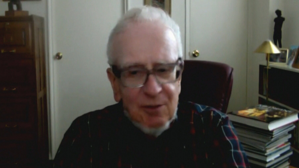 Holocaust survivor and author Peter Kubicek appears on CTV News via web cam from New York on Oct. 24, 2013.