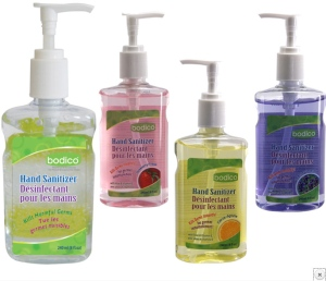 Bodico Hand Sanitizer products are pictured in this handout photo. (Health Canada)