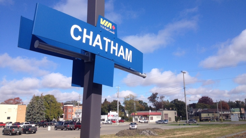 A sign indicates the stop at the Via Rail station in Chatham, Friday, Oct. 25, 2013. (Chris Campbell/ CTV Windsor)