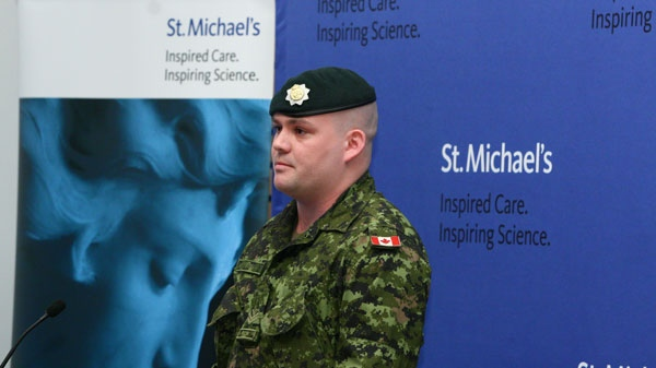 Master Cpl. Michael Blois, at St. Michael's Keenan Research Centre in Toronto, Thursday, May 5, 2011, says he suffered a traumatic brain injury during his tour of duty in Afghanistan in 2007. (St. Michael's Hospital  / The Canadian Press)