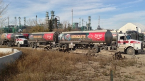 Dozens of tanker trucks stood idle at the Co-op refinery in Regina on Friday.