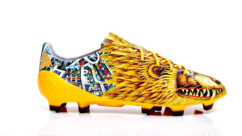 Yohji Yamamoto's design for the adizero f50 soccer cleats depicts the traditional Japanese 'imperial lion-dogs.' (Photo courtesy Adidas)