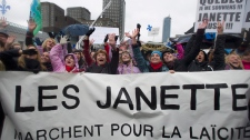 Janette Bertrand, third from left, takes part in a