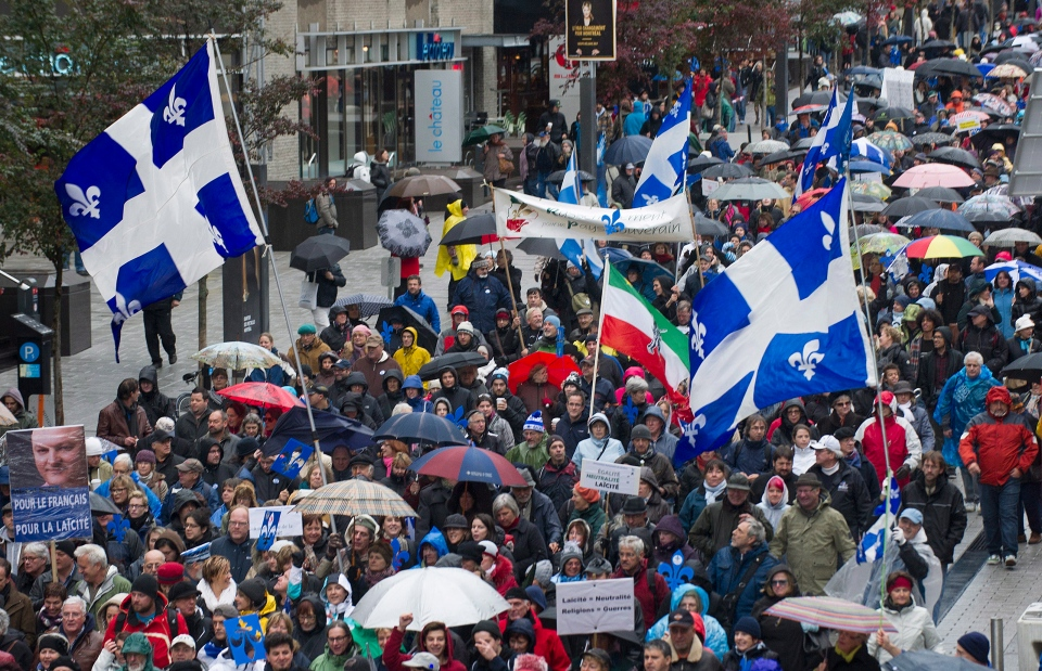 Supporters in favour of Quebec values charter
