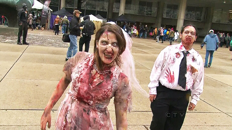 The living dead descend on the downtown core as the city plays host to the 11th annual Toronto Zombie Walk on Saturday, Oct. 26, 2013.