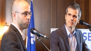 Sol Zanetti (left) is seen debating Nic Payne during the leadership race for the Option Nationale Party. (Image: Optionalnationale.org)