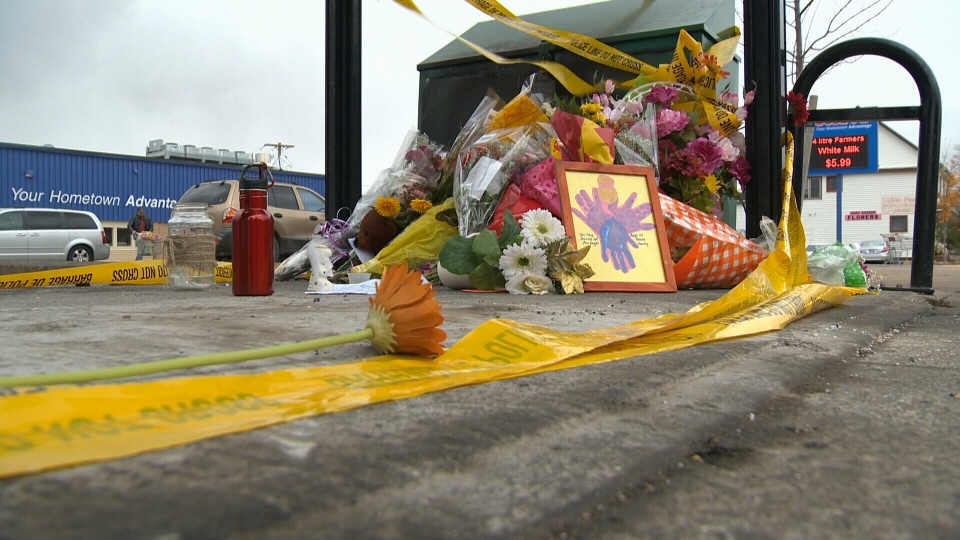 Flowers at a a memorial for Harley Lawrence, who died on Oct. 23 in Berwick in the province's Annapolis Valley.