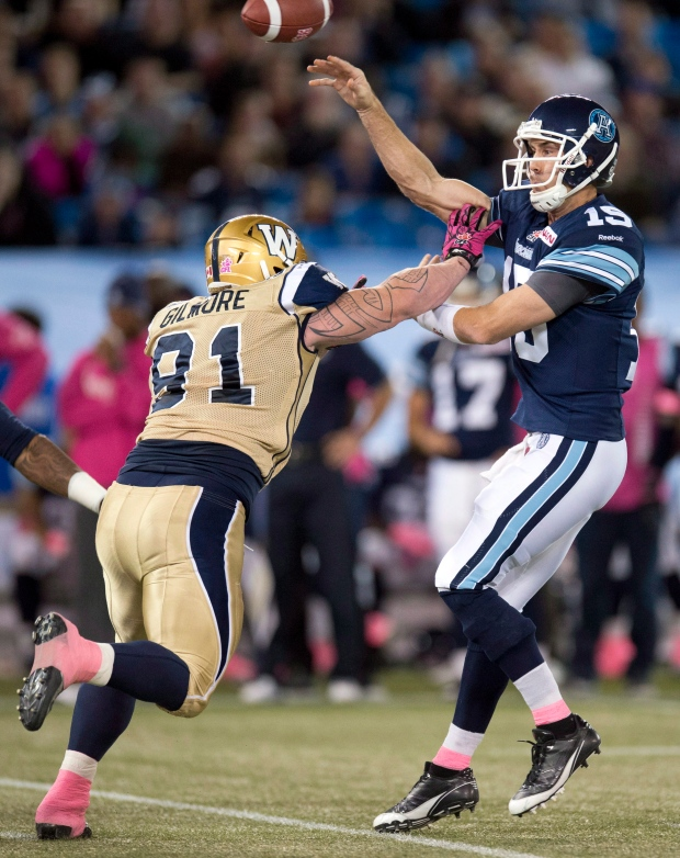 Ricky Ray during game in Toronto