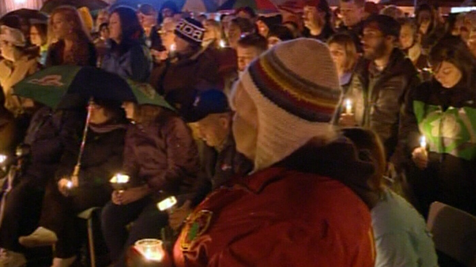 Hundreds attended a candlelit vigil for Harley Lawrence in Berwick, N.S. on Saturday, Oct. 26, 2013.