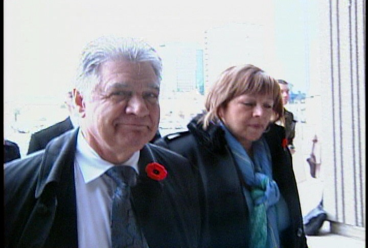 Mayor Joe Fontana arrives at the courthouse in London, Ont. on Monday, Oct. 28, 2013.