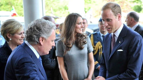 The Duke and Duchess of Cambridge are greeted by Quebec Premier Jean Charest and his wife Michelle Dionne at Ste-Justine Hospital in Montreal Saturday, July 2, 2011. (Paul Chiasson /THE CANADIAN PRESS)