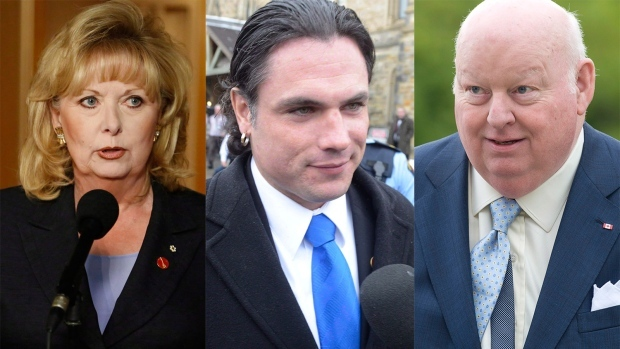Left to right: Sen. Pamela Wallin, Sen. Patrick Brazeau, and Sen. Mike Duffy are shown in this combination photo. (The Canadian Press/Patrick Doyle, Adrian Wyld)