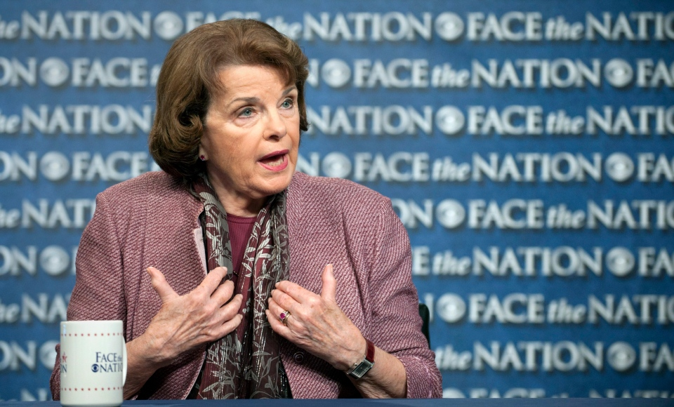 Chair of the Senate Intelligence Committee, Sen. Dianne Feinstein, D-Calif., speaks on CBS's 'Face that Nation' in Washington, Sunday, June 23, 2013. (CBS News / Chris Usher)