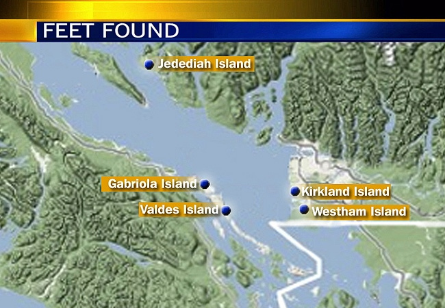 A map of the islands in British Columbia's Georgia Strait area where the unattached feet have washed up.