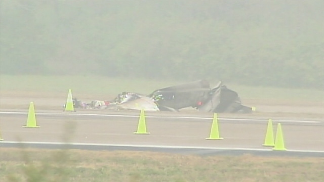 The wreckage of a small plane is seen in Nashville, Tenn. on Tuesday, Oct. 29, 2013 in this photo courtesy WSMV.