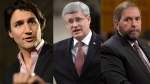 Liberal Leader Justin Trudeau, Prime Minister Stephen Harper and NDP Leader Thomas Mulcair appear in this composite image. (The Canadian Press/Sean Kilpatrick)