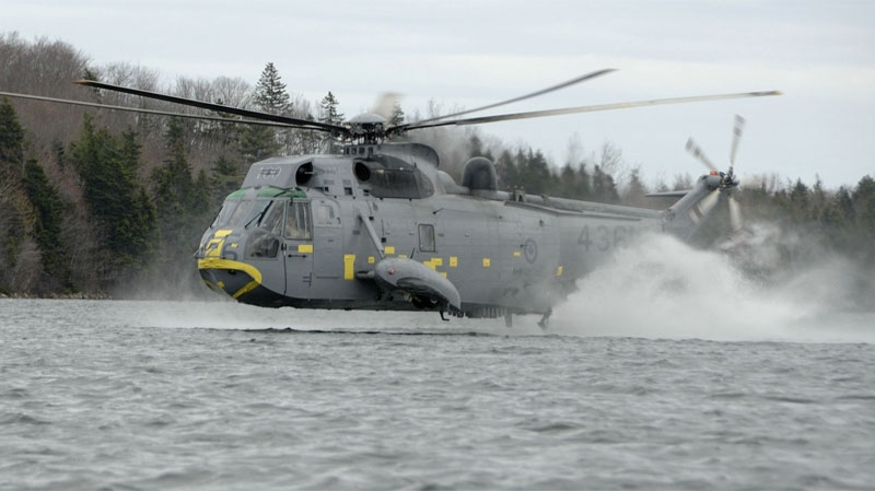FILE - The CH124 Sea King Helicopter during waterbird training at Morris Lake in Dartmouth, N.S.