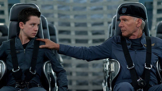 Asa Butterfield, left, and Harrison Ford in a scene from eOne Films Canada's 'Ender's Game'